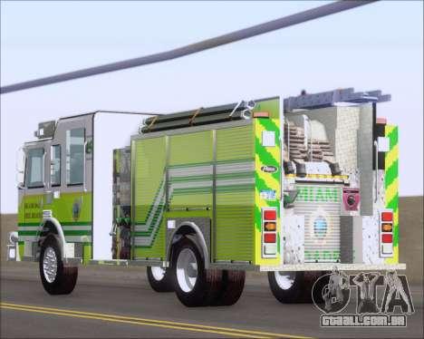 Pierce Arrow XT Miami Dade FD Engine 45 para vista lateral GTA San Andreas