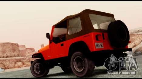 Jeep Wrangler para GTA San Andreas esquerda vista