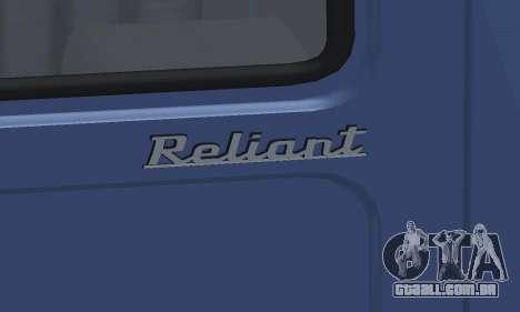 Reliant Supervan III para GTA San Andreas vista superior