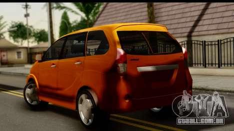 Toyota Avanza Veloz 2012 para GTA San Andreas esquerda vista