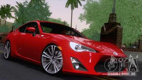 Toyota GT86 (ZN6) 2012 para GTA San Andreas traseira esquerda vista