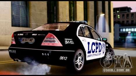 Mercedes-Benz C32 AMG Police para GTA San Andreas traseira esquerda vista