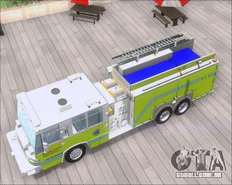 Pierce Quantum Miami Dade FD Tanker 6 para GTA San Andreas vista traseira
