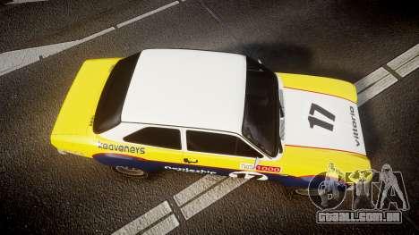 Ford Escort RS1600 PJ17 para GTA 4 vista direita