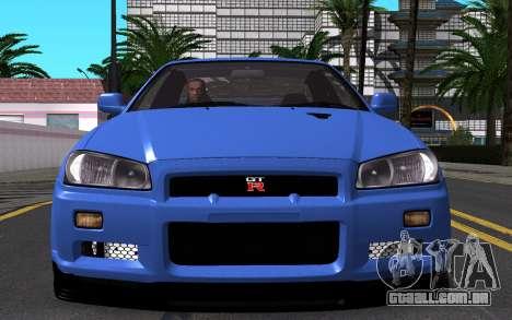 Nissan Skyline GT-R V Spec II 2002 para GTA San Andreas vista superior