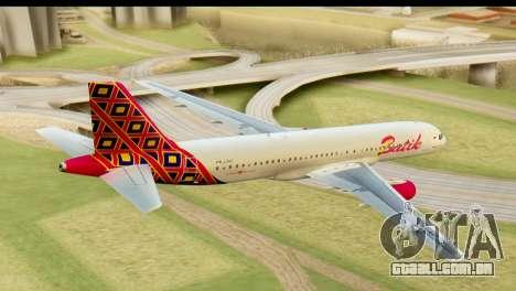 Airbus A320 Batik Air para GTA San Andreas esquerda vista