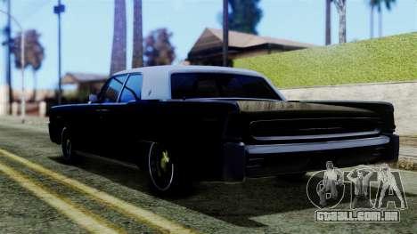 Lincoln Continental para GTA San Andreas esquerda vista
