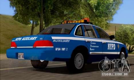 Ford Crown Victoria NYPD  Mazarine para GTA San Andreas traseira esquerda vista