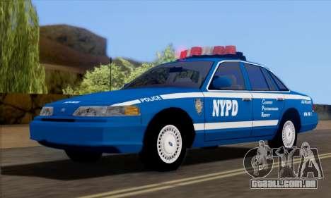 Ford Crown Victoria NYPD  Mazarine para GTA San Andreas vista direita