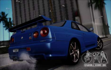 Nissan Skyline GT-R V Spec II 2002 para GTA San Andreas traseira esquerda vista