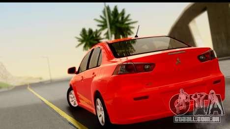 Mitsubishi Lancer X Stock para GTA San Andreas esquerda vista
