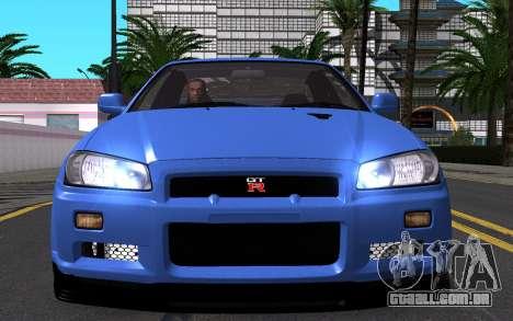 Nissan Skyline GT-R V Spec II 2002 para GTA San Andreas vista inferior