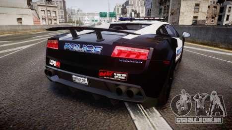 Lamborghini Gallardo LP570-4 LCPD [ELS] para GTA 4 traseira esquerda vista