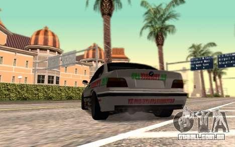 BMW M3 E36 VCDT para GTA San Andreas traseira esquerda vista