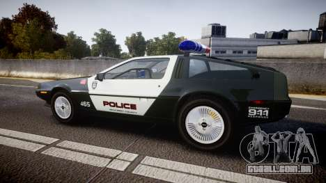 DeLorean DMC-12 [Final] Police para GTA 4 esquerda vista