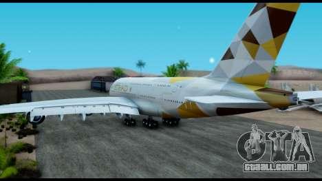 Airbus A380-800 Etihad New Livery para GTA San Andreas esquerda vista