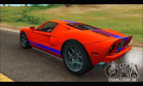 Ford GT 2006 para GTA San Andreas traseira esquerda vista