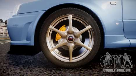 Nissan Skyline R34 GT-R V.specII 2002 para GTA 4 vista de volta