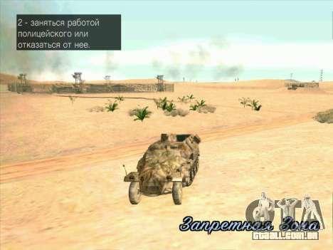 Sd Kfz 251 Da Camuflagem Do Deserto para GTA San Andreas vista interior