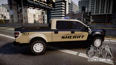 Ford F150 2010 Liberty County Sheriff [ELS] para GTA 4 esquerda vista