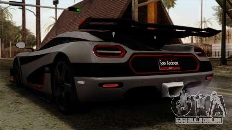 Koenigsegg One 1 para GTA San Andreas esquerda vista