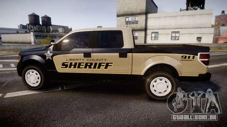 Ford F150 Liberty County Sheriff [ELS] Slicktop para GTA 4 esquerda vista