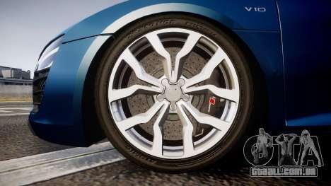 Audi R8 Spyder 2014 [EPM] para GTA 4 vista de volta