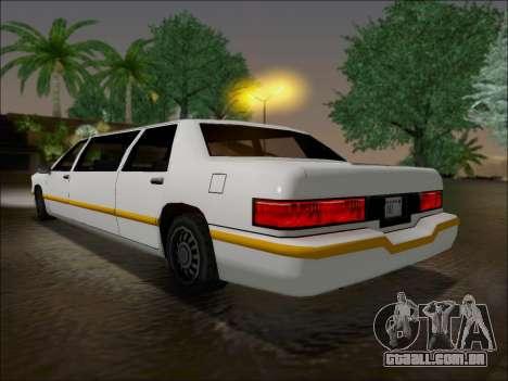 Elegant Limousine para GTA San Andreas traseira esquerda vista