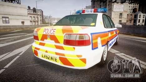 Vauxhall Omega Metropolitan Police [ELS] para GTA 4 traseira esquerda vista