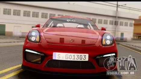 Porsche Cayman GT4 981c 2016 EU Plate para GTA San Andreas vista direita