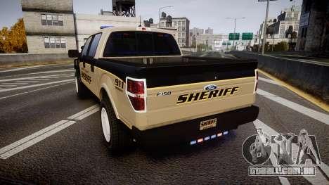 Ford F150 2010 Liberty County Sheriff [ELS] para GTA 4 traseira esquerda vista