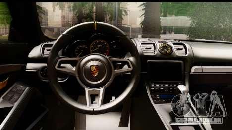 Porsche Cayman GT4 981c 2016 EU Plate para GTA San Andreas vista interior