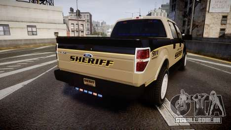 Ford F150 Liberty County Sheriff [ELS] Slicktop para GTA 4 traseira esquerda vista