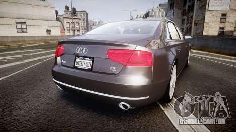 Audi A8 L 4.2 FSI quattro para GTA 4 traseira esquerda vista