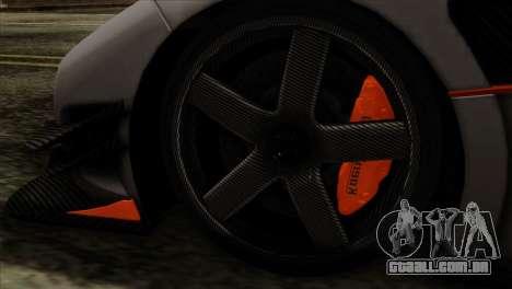 Koenigsegg One 1 para GTA San Andreas traseira esquerda vista