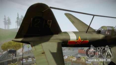 ИЛ-10 Força Aérea Chinesa para GTA San Andreas traseira esquerda vista