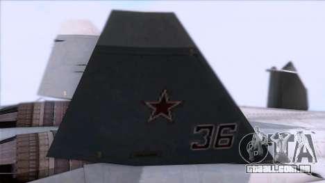 Sukhoi T-50 PAK FA Akula para GTA San Andreas vista direita
