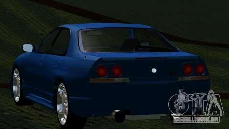Nissan Skyline R33 4door outech para GTA San Andreas traseira esquerda vista