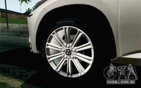 Lexus NX 200T v5 para GTA San Andreas traseira esquerda vista