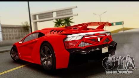 GTA 5 Pegassi Zentorno Zen Edition para GTA San Andreas esquerda vista