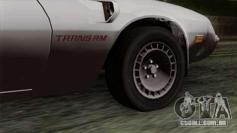 Pontiac Trans AM para GTA San Andreas traseira esquerda vista