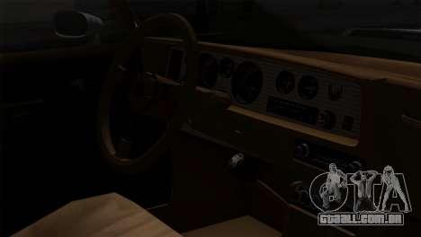 Pontiac Trans AM Interior para GTA San Andreas vista traseira