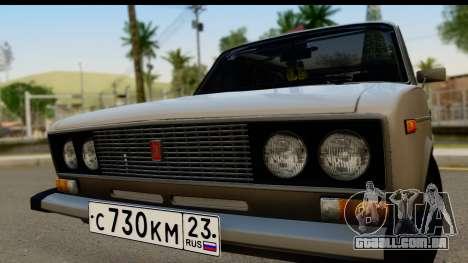 ВАЗ 2106 Baixa Clássico para GTA San Andreas traseira esquerda vista