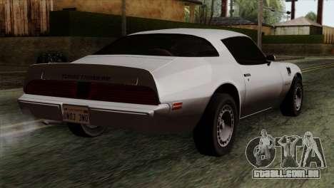 Pontiac Trans AM para GTA San Andreas esquerda vista