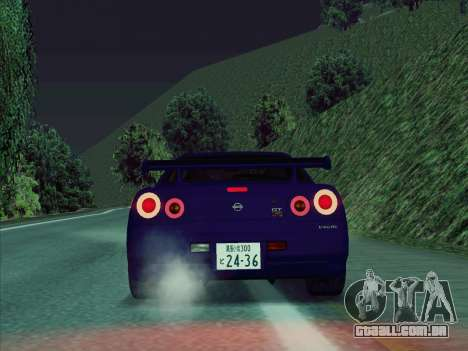 Nissan Skyline GT-R V-Spec (BNR34) para GTA San Andreas vista direita