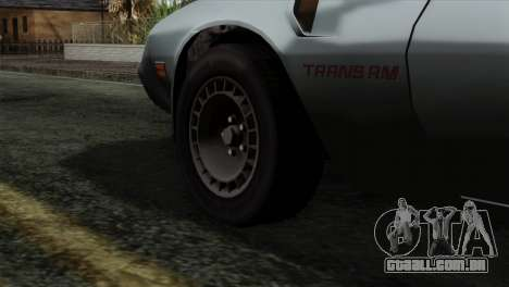 Pontiac Trans AM Interior para GTA San Andreas traseira esquerda vista