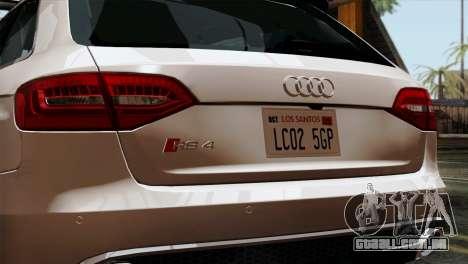 Audi RS4 Avant B8 2013 v3.0 para GTA San Andreas vista traseira