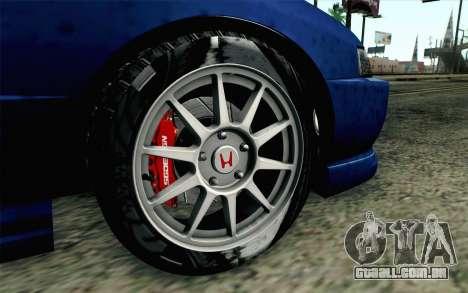 Honda Integra Type R 2000 Stock para GTA San Andreas traseira esquerda vista