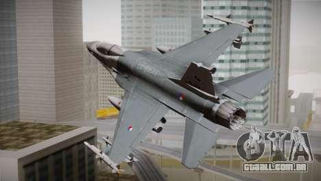 F-16 Fighting Falcon RNLAF para GTA San Andreas esquerda vista
