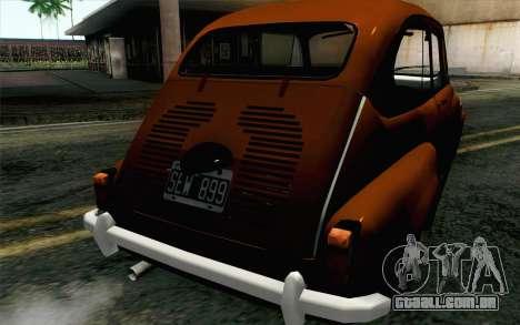 Fiat 600 para GTA San Andreas vista traseira